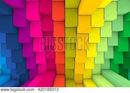 Colorful Steps Abstract Background 3d Render Illustration