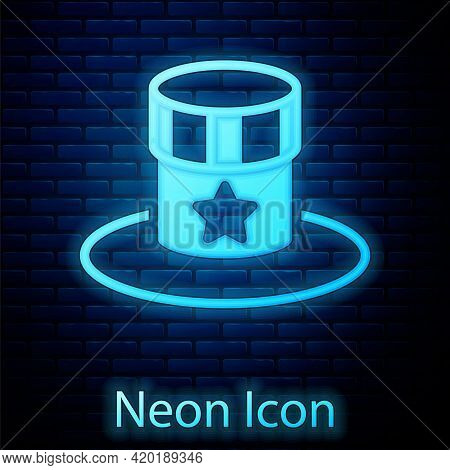 Glowing Neon Patriotic American Top Hat Icon Isolated On Brick Wall Background. Uncle Sam Hat. Ameri