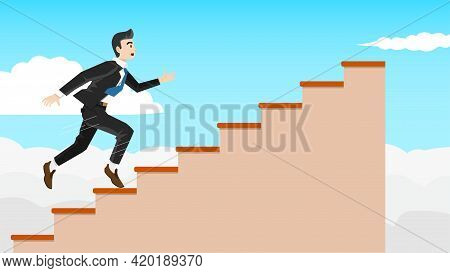 Businessman In Business Suit Running Up Stairs Brown Color. Walking Up To The Goal. Vector Illustrat