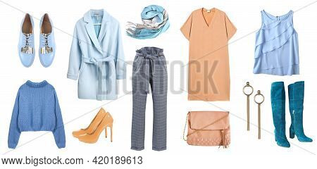 Fashion Women's Clothes Isolated On White. Set Of Female Apparel. Modern Clothing Collage. Collectio