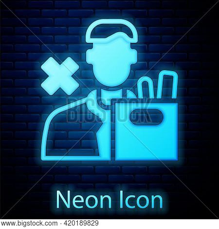Glowing Neon Dismissed Sad Young Man Carrying Box With His Personal Belonging Leaving His Job Icon I