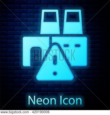 Glowing Neon Shutdown Of Factory Icon Isolated On Brick Wall Background. Industrial Building. Vector