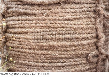 Large Coil Of Coarse Linen Fiber Rope Close Up