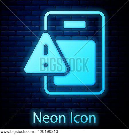 Glowing Neon Global Economic Crisis Icon Isolated On Brick Wall Background. World Finance Crisis. Ve