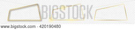 Set Of Three Gold Glowing Trapezoid Shape Frames Isolated On Transparent Background. Shiny Frame Wit