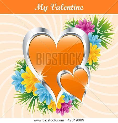 Orange Love Hearts And Flowers