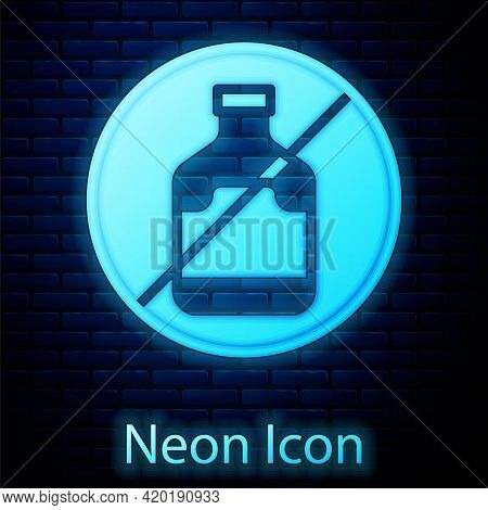 Glowing Neon No Alcohol Icon Isolated On Brick Wall Background. Prohibiting Alcohol Beverages. Forbi