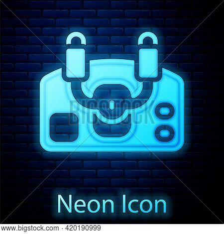 Glowing Neon Aircraft Steering Helm Icon Isolated On Brick Wall Background. Aircraft Control Wheel.