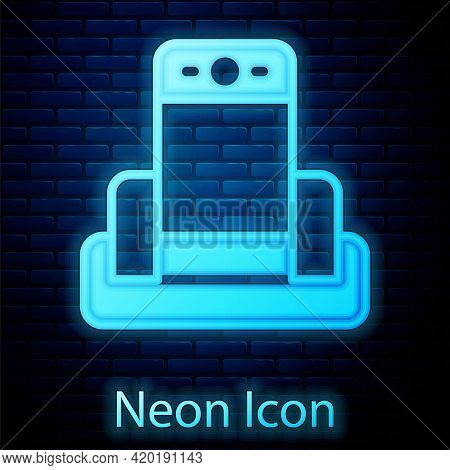 Glowing Neon Metal Detector In Airport Icon Isolated On Brick Wall Background. Airport Security Guar
