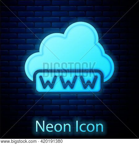 Glowing Neon Software, Web Development, Programming Concept Icon Isolated On Brick Wall Background.