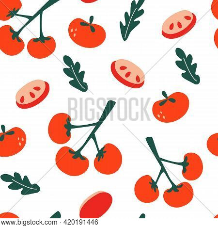 Seamless Pattern With Tomatoes. Tomatoes On A Branch, Tomato Slices And Leaves. Endless Texture For