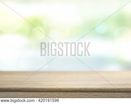 Wooden Empty Table Empty Advertisement Space With Blurred Background. Product Promotion Space.  Desk