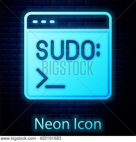 Glowing Neon Code Terminal Icon Isolated On Brick Wall Background. Browser Window With Command Line.
