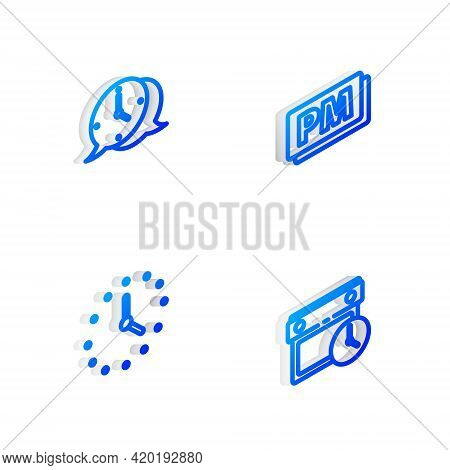 Set Isometric Line Clock Pm, Speech Bubble, And Calendar And Clock Icon. Vector