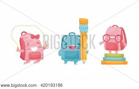 Cartoon Schoolbags Or School Rucksack Skipping Rope And Holding Pencil Vector Set