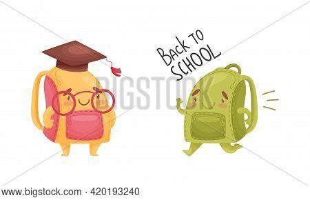 Cartoon Schoolbags Or School Rucksack Wearing Graduation Hat And Running Vector Set