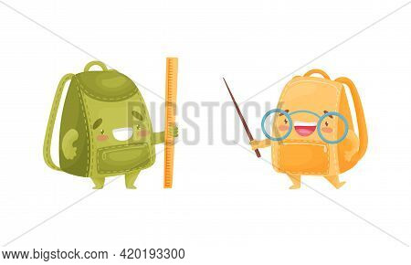 Cartoon Schoolbags Or School Rucksack Holding Pointer And Ruler Vector Set
