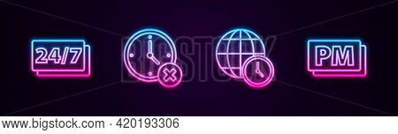 Set Line Clock 24 Hours, Delete, World Time And Pm. Glowing Neon Icon. Vector