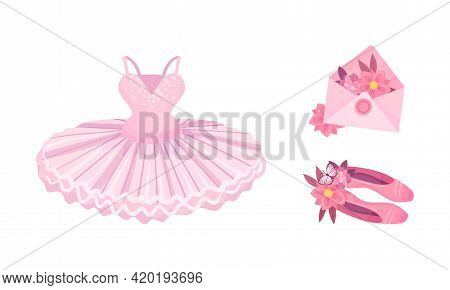 Tutu Skirt And Pointe Shoes As Ballet Accessory Vector Set