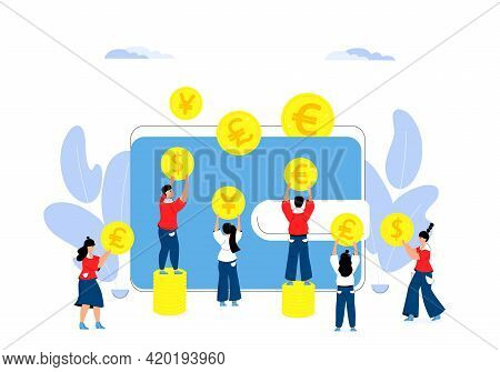 Multi Currency Wallet. Tiny Business People Fill Online Purse With Coins. Money Savings Concept. Mon
