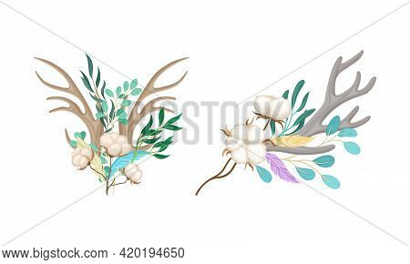 Deer Antlers Arranged With Tender Cotton Flowers And Green Twigs Vector Set