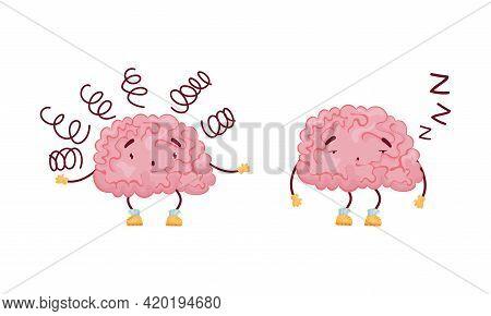 Cartoon Brain Character Feeling Sleepy And Puzzled Vector Set