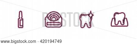 Set Line Painkiller Tablet, Tooth Whitening, Dental Floss And Icon. Vector