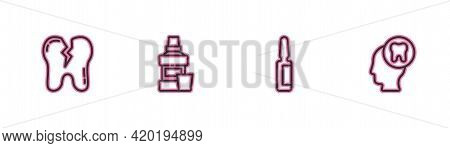 Set Line Broken Tooth, Painkiller Tablet, Mouthwash Bottle And Human Head With Icon. Vector