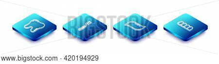 Set Isometric Line Tooth, Toothbrush, Toothpaste And Dentures Model Icon. Vector