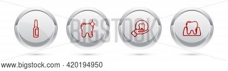 Set Line Painkiller Tablet, Tooth Whitening, And . Silver Circle Button. Vector