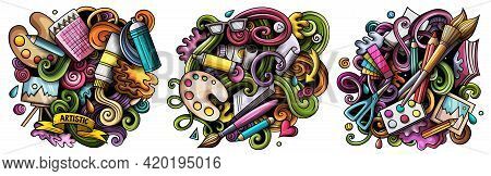 Art Cartoon Vector Doodle Designs Set. Colorful Detailed Compositions With Lot Of Artist Objects And