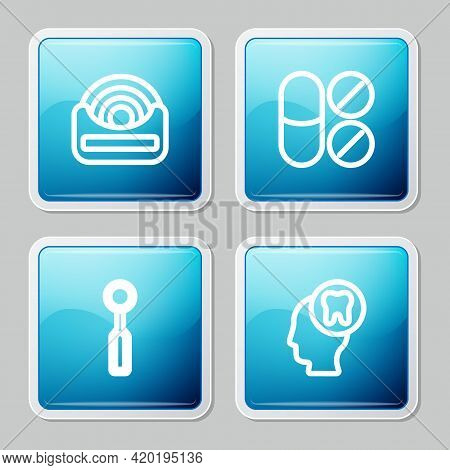 Set Line Dental Floss, Painkiller Tablet, Inspection Mirror And Human Head With Tooth Icon. Vector
