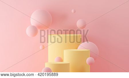 3D Illustration of floating spheres and cylinders forming a pedestal