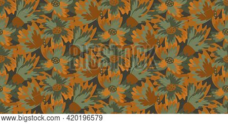 Wild Meadowflower Blossom Seamless Vecor Border. Banner With Abstract Ochre And Sage Green Painterly