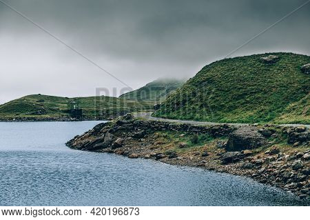 Beautiful Landscape Panorama Of Miners Tack In Snowdonia National Park In North Wales, Uk. Shoot Dur