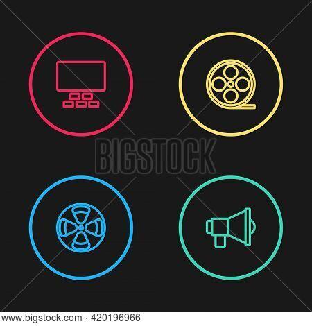 Set Line Film Reel, Megaphone, And Cinema Auditorium With Seats Icon. Vector