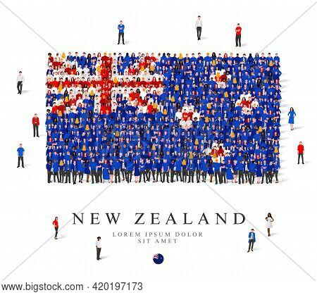 A Large Group Of People Are Standing In Blue, White And Red Robes, Symbolizing The Flag Of New Zeala