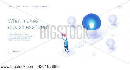 Brainstorming Session Concept In Isometric Vector Illustration. Brain Storm Or Strategic Thinking As