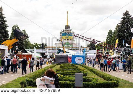 Kyiv, Ukraine - August 12, 2020: Exhibits International Agro-industrial Exhibition Agro 2020. Modern