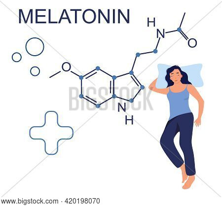 Melatonin Hormone Chemical Formula.insomnia Concept.night Time And Sleep Disorder. Health Care. Addi