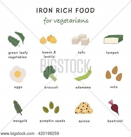 Iron Rich Food Sources For Vegetarian Diet. Collection Of Food Containing Iron. Soy Product, Chocola