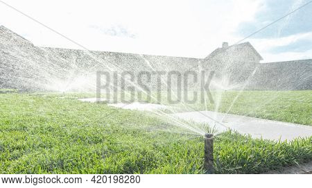 Garden Irrigation System Lawn. Automatic Lawn Sprinkler Watering Green Grass. Selective Focus.