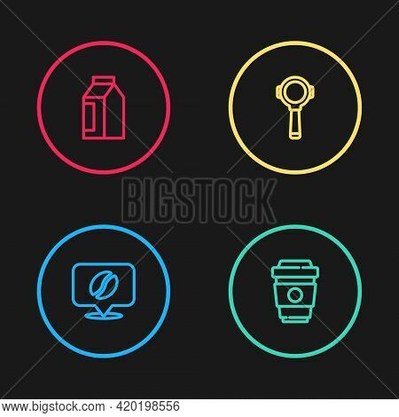 Set Line Location With Coffee Bean, Coffee Cup To Go, Filter Holder And Bag Beans Icon. Vector