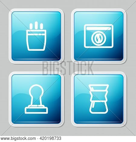 Set Line Coffee Cup, Bag Coffee Beans, Tamper And Pour Over Maker Icon. Vector