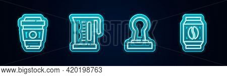 Set Line Coffee Cup To Go, Electric Kettle, Tamper And Bag Coffee Beans. Glowing Neon Icon. Vector