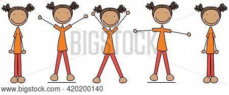 Cartoon Vector Illustration Of A Girl Exercising - Jumping Jacks