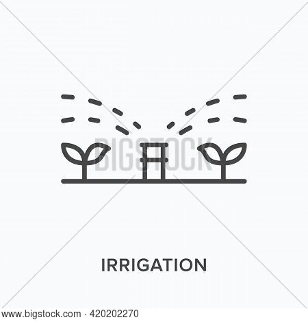 Irrigation Flat Line Icon. Vector Outline Illustration Of Automatic Grass Sprinkler. Black Thin Line