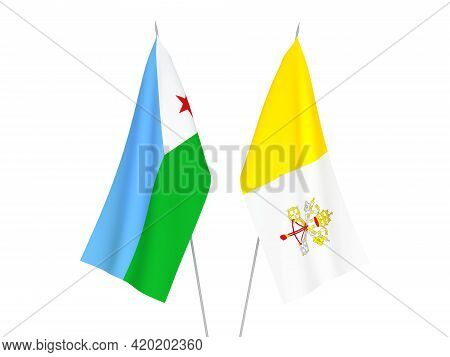 National Fabric Flags Of Vatican And Republic Of Djibouti Isolated On White Background. 3d Rendering