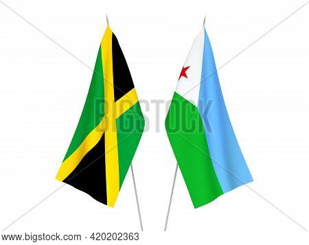 National Fabric Flags Of Jamaica And Republic Of Djibouti Isolated On White Background. 3d Rendering