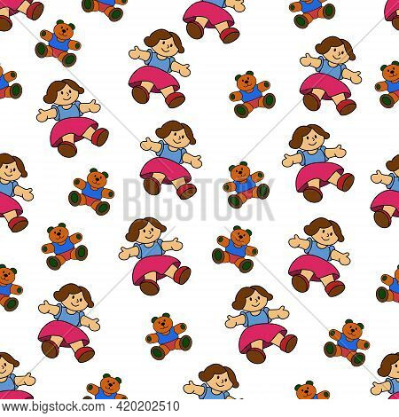 Seamless Pattern Of Toys In Cartoon Style. Kids Toys. Girl And Teddy Bear.